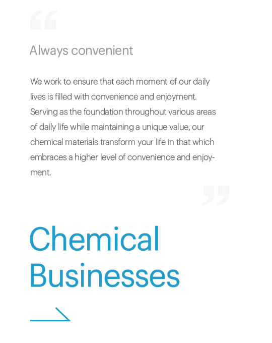Always convenient, We work to ensure that each moment of our daily lives are filled with convenience and enjoyment. Serving as the foundation throughout various areas of daily life while maintaining a unique value, our chemical materials transform your life in that which embraces a higher level of convenience and enjoyment., Chemical Businesses